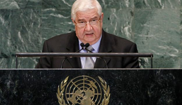 al-Moualem, Foreign Minister of Syria, addresses the United Nations General Assembly.