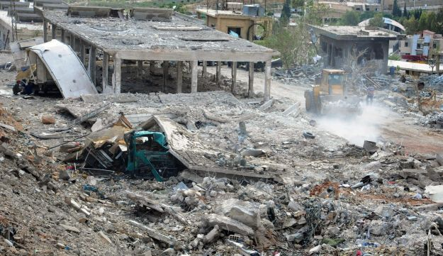 A photo released by Syria's state news agency allegedly showing the damage caused by Israel's airstr