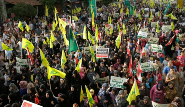 Hezbollah supporters at Beirut rally - AP - Sept. 17, 2012