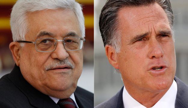 Palestinian Authority President Mahmoud Abbas and Republican Presidential candidate Mitt Romney.