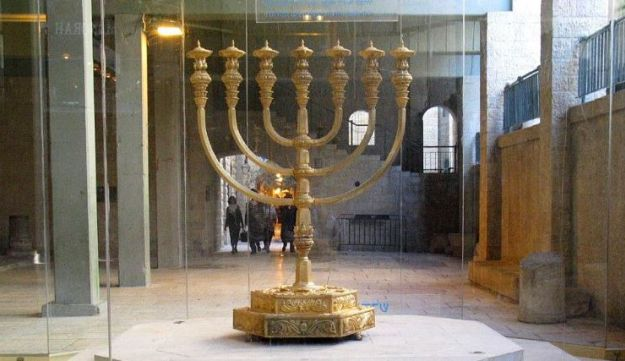 Golden menorah at the Temple Institute.