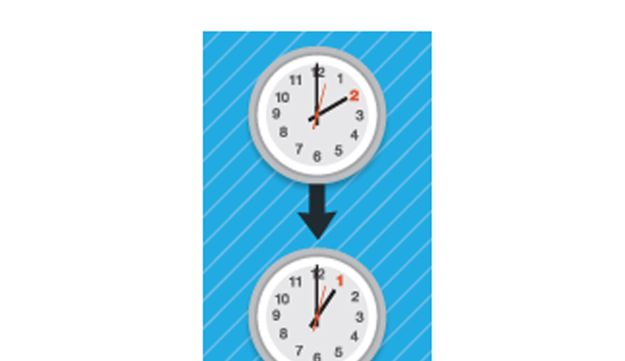 From daylight saving time to standard time on Sept. 23, 2012.