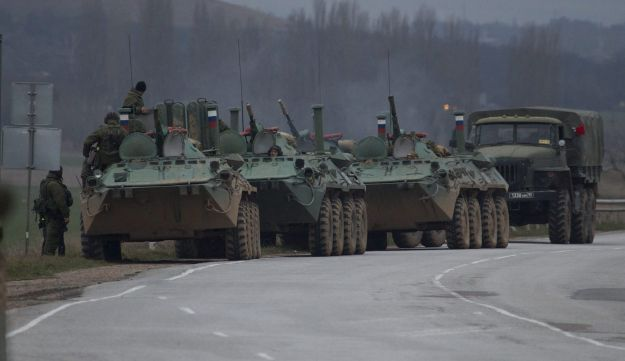 Russian armored personnel carriers in Crimea
