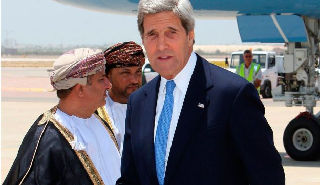 US Secretary of State John Kerry arrives in the Omani capital Muscat on May 21, 2013