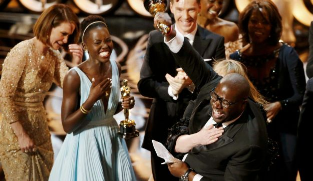 Steve McQueen celebrates after winning Best Picture for '12 Years a Slave'