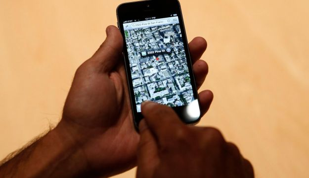 Using the map function of Apple's iPhone 5.