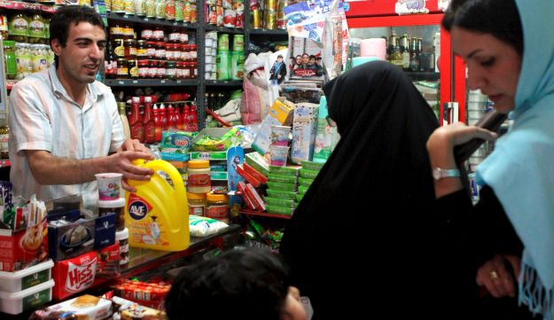 Iranian women shops at a grocery store.