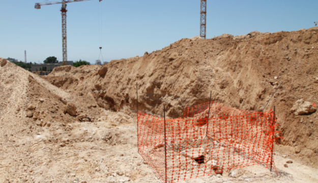 A construction site at Tel Aviv University where remains of Muslim graves have been found