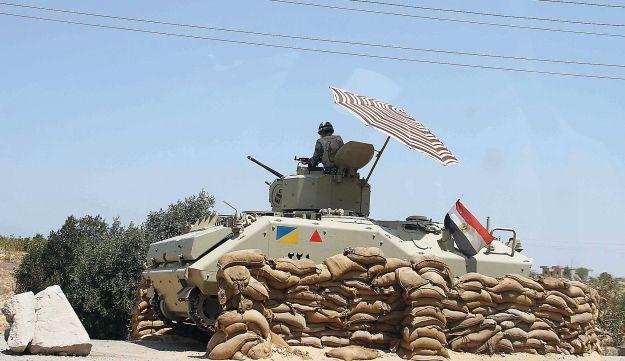 An Egyptian armored vehicle on the border with the Gaza Strip.