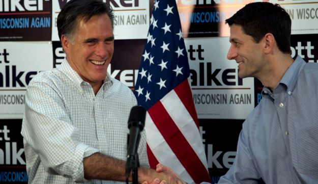 Romney and Ryan shaking hands, March 31 2012.