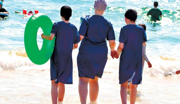 Not testing the waters: modest bathing suits on show at the separate beach in Tel Aviv
