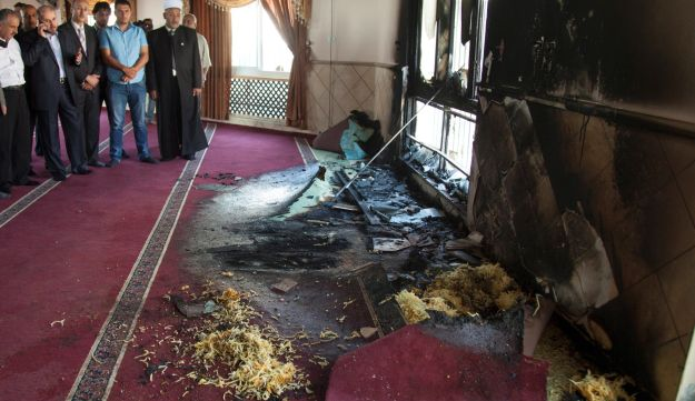 """A Palestinian mosque vandalized in a """"price tag"""" attack in the West Bank village of Jaba."""