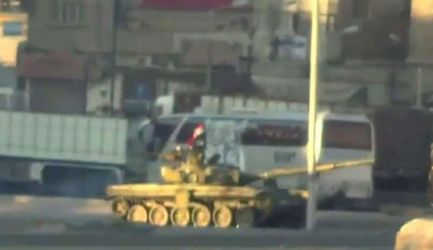 Image grab allegedly shows a Syrian army tank in Damascus.
