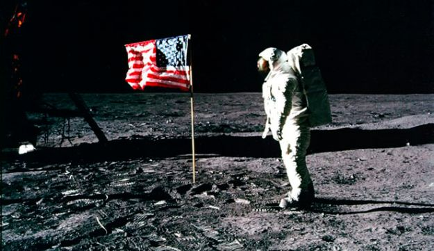 U.S. astronaut Buzz Aldrin salutes the U.S. flag on the moon after he and Armstrong landed in 1969.
