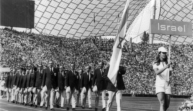 The Israeli Olympic team parades in the Olympic Stadium, Munich, Aug. 26, 1972