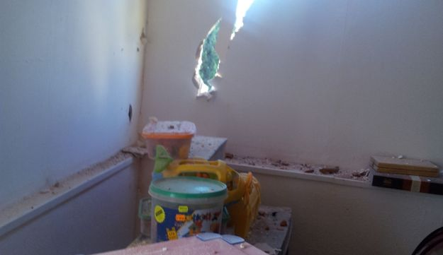 The damage done by the rocket to the house in Sderot.