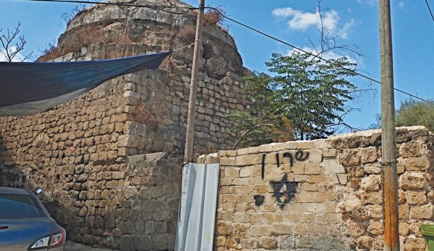 Remains of a mosque in Salama, now Kfar Shalem.