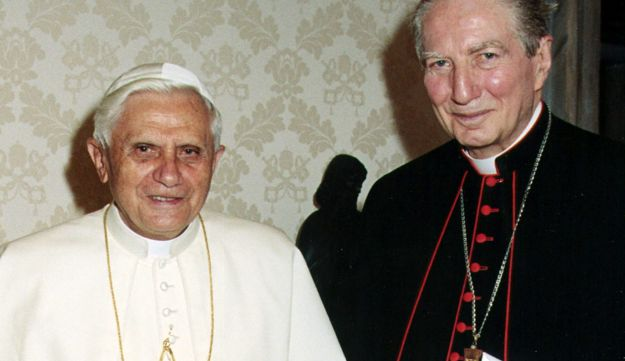 The former archbishop of Milan, Cardinal Carlo Maria Martini, right, with Pope Benedict XVI