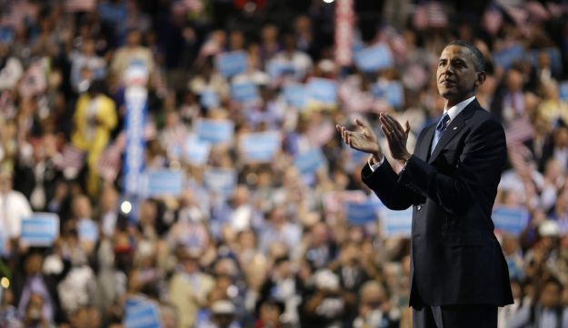 President Barack Obama after his speech at the Democratic National Convention in Charlotte, N.C.