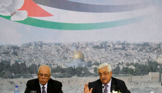 Palestinian President Mahmoud Abbas talks at a press conference in the West Bank city of Ramallah