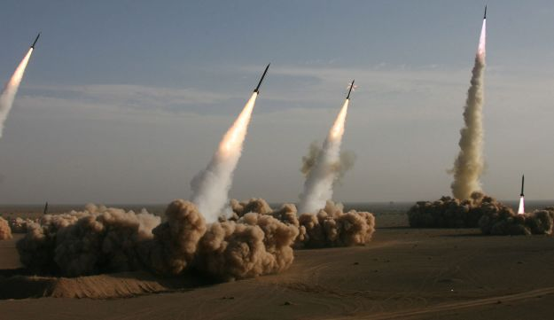 Iran's Revolutionary Guards fire missiles in the central desert outside the holy city of Qom.