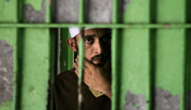 Palestinian prisoner at Hamas prison in Gaza - AP - 2007
