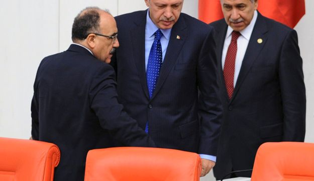 In this Monday, Oct. 1, 2012 photo, Prime Minister Recep Tayyip Erdogan, center, and his deputies.