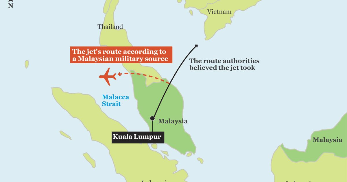Malaysia Military Says Tracked Missing Jet To Strait Of Malacca