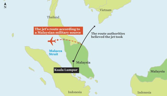 Malaysia military says tracked missing jet to Strait of Malacca ...