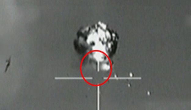 A screenshot taken from video released by IDF spokesman, showing the downing of an identified drone.