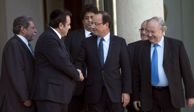 French President Francois Hollande meeting with Jewish leaders.