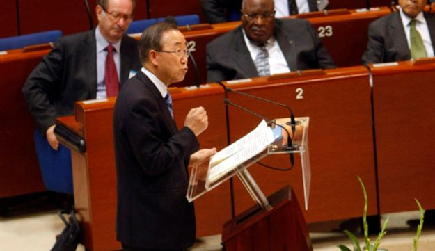 UN Secretary General Ban Ki-moon delivers his speech during the World Forum for Democracy.