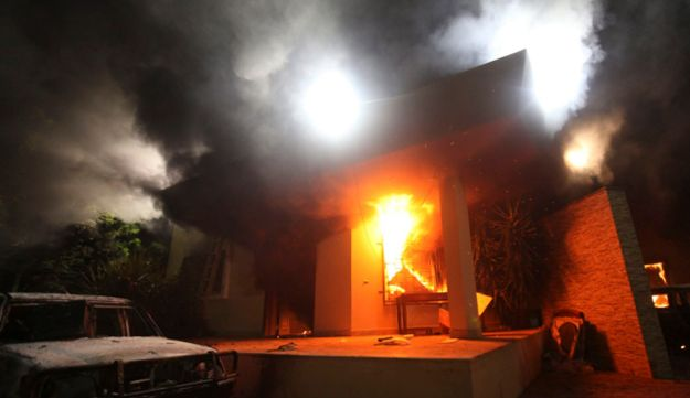 The U.S. Consulate in Benghazi is set alight in protest over anti-Islam movie, September 11, 2012