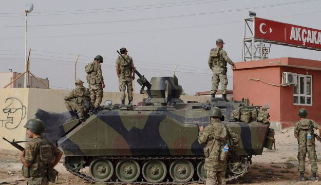 Turkish military station at the border gate with Syria - AP - October 7, 2012.