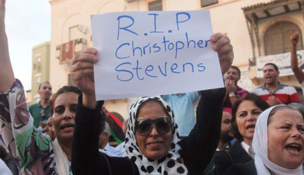 A demonstrator holds placard during a rally to condemn attack on the U.S. consulate in Benghazi.