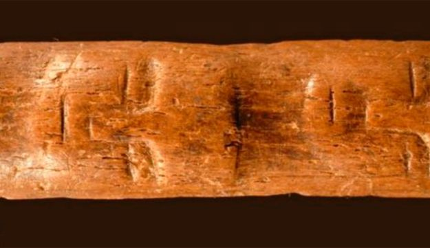 A screenshot of the cow-bone wand found in southern Syria.