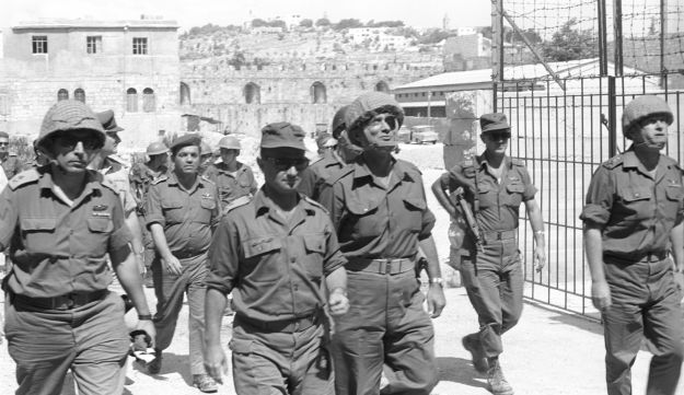 In front, from left: Generals Rehavam Ze'evi and Uzi Narkiss, Defense Minister Moshe Dayan and Chief of Staff Yitzhak Rabin near the Western Wall in Jerusalem during the Six Day War.