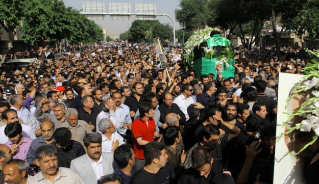 The funeral-turned-protest in Isfahan Tuesday.