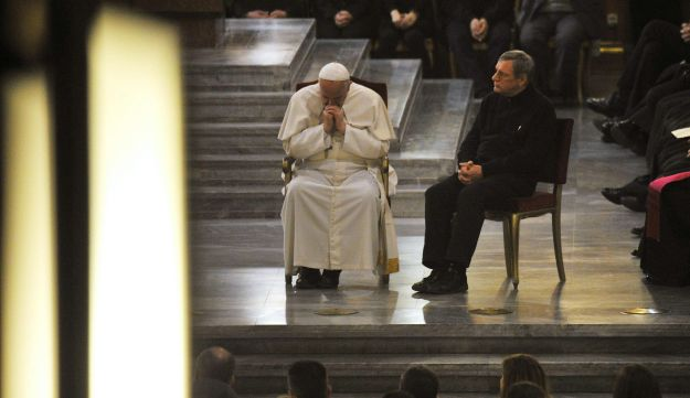 Pope Francis during service in Rome