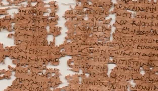 Screenshot from YouTube video showing the 1,800-year-old letter.