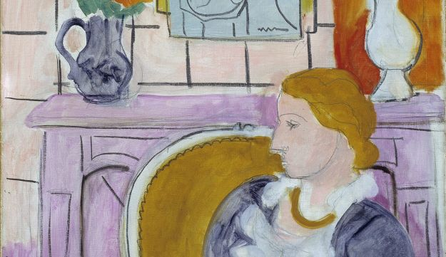 Woman in Blue in Front of a Fireplace, Matisse