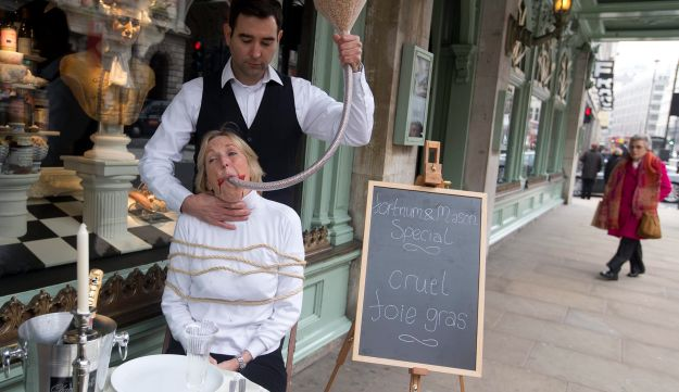 People for the Ethical Treatment of Animals campaigns against the sale of foie gras