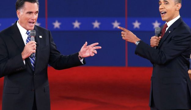 Republican presidential nominee Romney and President Obama speak directly to each other.