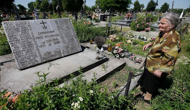 A mass grave in the village of Chlaniow, Poland, that holds the bodies of Poles killed in an attack