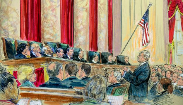 Attorney Theodore Olsen, right, representing the same-sex couples, addresses the U.S. Supreme Court