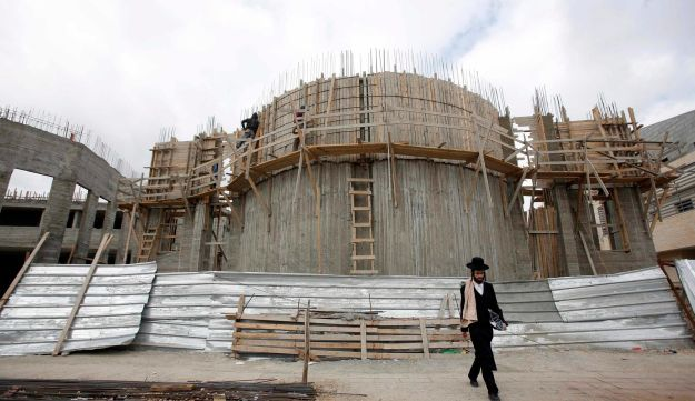 The construction of a synagogue in the West Bank Jewish settlement of Beitar Ilit, 2013.