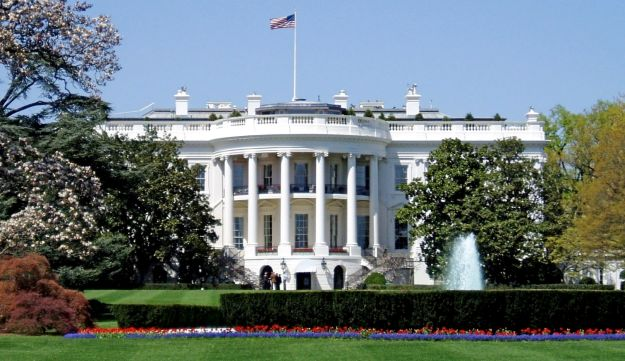 South facade of the White House, the executive mansion of the President of the United States.