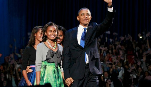 Obama and his family in Chicago