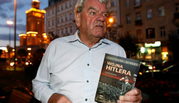David Irving, the British Holocaust-denier, speaks to Reuters during an interview in Warsaw