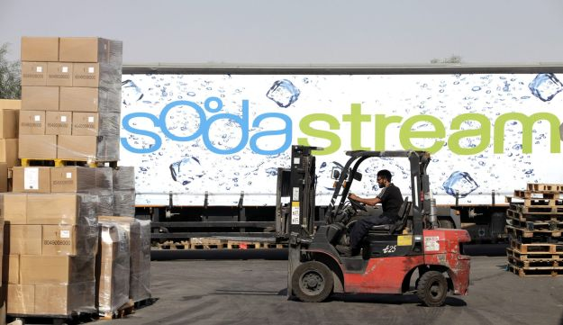 SodaStream products on pallets.